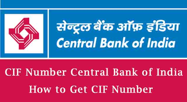 CIF Number Central Bank of India